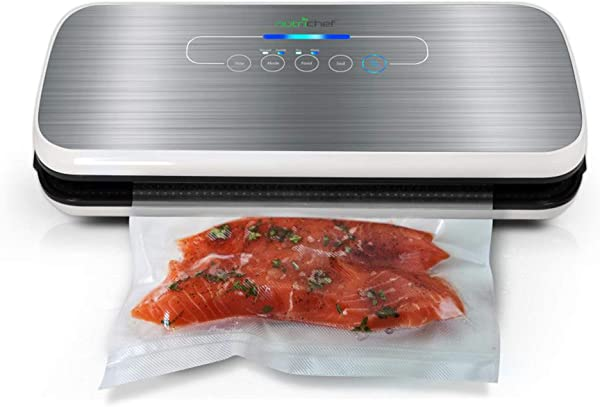 Vacuum Sealer By NutriChef Automatic Vacuum Air Sealing System For Food Preservation W Starter Kit Compact Design Lab Tested Dry Moist Food Modes Led Indicator Lights Silver