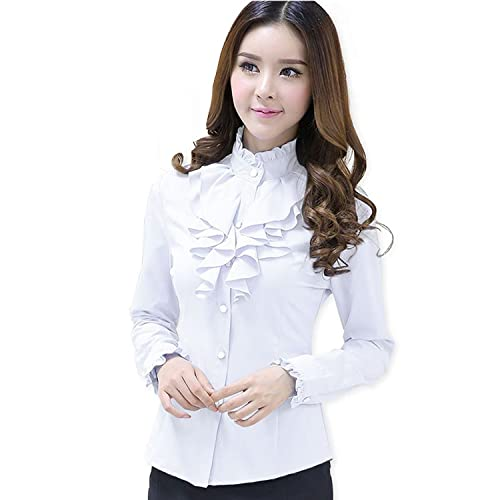 30e424e2bf0dc Alaine Fashion Female Full Sleeve Women Casual Shirt Office Elegant Rose  Ruffled Collar Blouse Ladies Tops