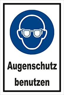 Aufkleber - Gebots-zeichen - Augen-schutz benutzen - entspr. DIN ISO 7010 / ASR A1.3 – 15x10cm – S00361-008-A  in 20 Varianten erhältlich