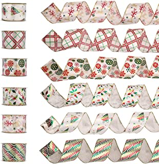 Wired Edge Christmas Ribbon, Assorted Organza Swirl Sheer Crafts Gift Wrapping Ribbons DIY Xmas Design Decorations, 36 Yards (6 Roll x 6 yd) by 2-1/2 inch