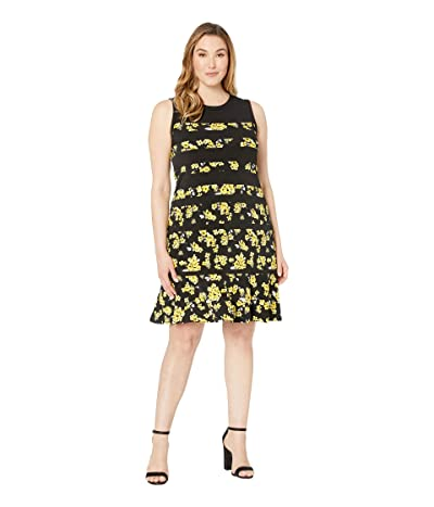MICHAEL Michael Kors Plus Size Glam Painterly Panelled Dress (Black/Golden Yellow) Women