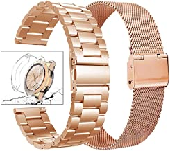 Minfex Compatible with Samsung Galaxy 42mm/Gear S2 Classic Watch Bands, 2-Pack 20mm Stainless Steel Replacement Metal Band Strap Bracelet for Galaxy 42mm Smartwatch, Rose Gold