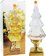 DRomance LED Light Up Musical Glitter Christmas Tree, 14 Inch Tall Singing Snow Globe Christmas Tree Shaped with Pedestal