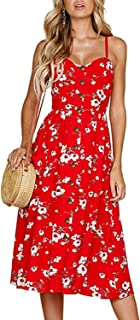Womens Dresses Summer Floral Spaghetti Strap Sundress Button Down Swing Midi Dress with Pockets