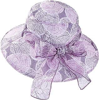 XYCXBM Moda Bowknot Boda para Mujer Organza Gasa Gran Ancho ala Sombrero para El Sol Verano Plana Elegante Señoras Sombreros De La Iglesia