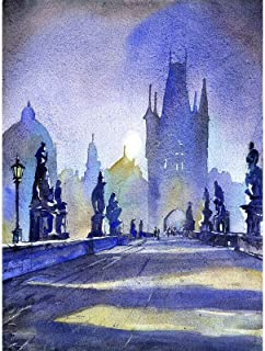 Watercolor painting of statues on Charles Bridge in medieval city of Prague- Czech Republic (print)