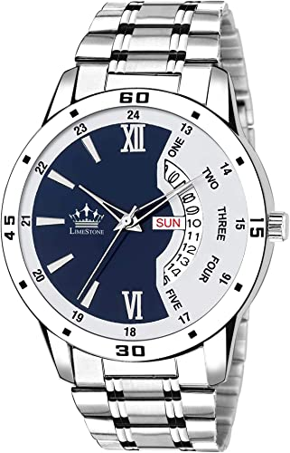 Day and Date Functioning Silver Color Metal Strap Blue Dial Quartz Wrist Watch for Men with Brass Dial and Metal Chain