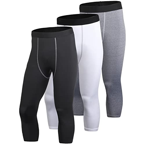 a60ad22dae Yuerlian Men's Compression 3/4 Capri Shorts Baselayer Cool Dry Sports Tights