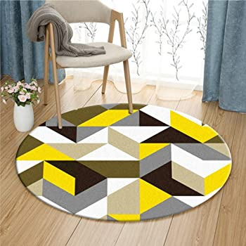 Tapis rond dans le salon Chambre /à coucher pour la table /à caf/é Table de chaise Tapis Tapis jaune Forme g/éom/étrique Couleurs mixtes taille : Diameter 80cm