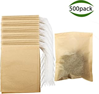 Tea Filter Bags, POZEAN Tea Bags for Loose Tea 500 pack Disposable with Drawstring and Safe Unbleached Natural, for Scented Tea, Herbal Medicine Package,Soup Package,etc (3.15×3.94 inch)