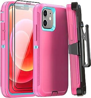 AOPULY - Funda para iPhone 12 y iPhone 12 Pro de 6.1 pulgadas con clip para cinturón con 2 protectores de pantalla, cubier...