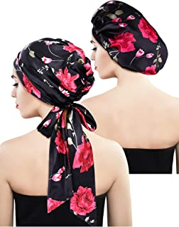2 Pieces Soft Satin Bonnet Cap Satin Head Scarf Pre-Tied Head Wrap Sleeping Headwear for Women, 2 Types (Black Floral with Tail, Black Floral)