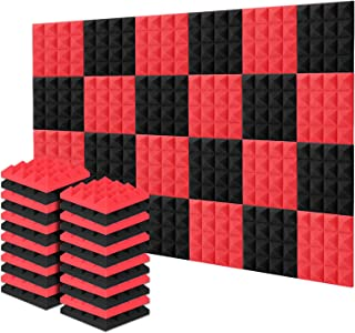 Acolchado Insonorizado, AGPtEK 24 Paquetes de Espuma Insonorizadora 25x25x5CM Paneles de Espuma Acústica Rojo y Negra, Ide...