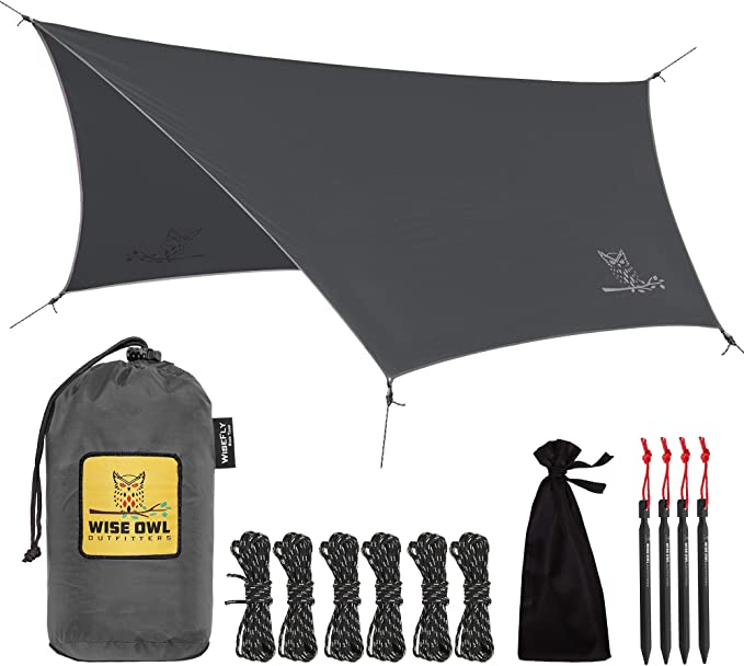 Wise Owl Outfitters Camping Tarp – The Hammock Tarp With a Double Sewn Edge