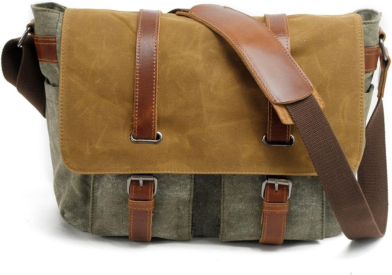 Peggy Gu Messenger Handtasche Handtasche Handtasche Einfacher Retro Reißverschluss-Wasserdichte Leinwand-Umhängetasche-Umhängetasche Geschäftsorganisator (Farbe   Amy Grün) B07JV8Y69Z eceeb6