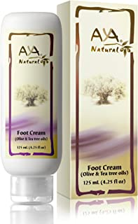 Natural Foot Cream for Cracked Feet - Vegan Premium Moisturizer for Dry Heels 4.25 oz - Shea, Olive, Jojoba and Tea Tree Oils Blend