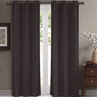 Willow Jacquard Charcoal Grommet Blackout Window Curtain Panels, Pair / Set of 2 Panels, 42x84 inches Each, by Royal Hotel