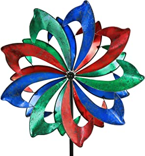 3D Kinetic Wind Spinners with Stable Stake Metal Garden Spinner with Reflective Painting Unique Lawn Ornament Wind Mill for Outdoor Yard Lawn Garden Decorations (WWR-032)