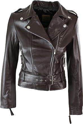 Aviatrix Ladies Womens Brown Real Leather Slim Fit Soft Zip Biker Style Jacket