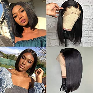 Glueless Short Bob Wigs Brazilian Virgin Hair Straight Bob Wigs Lace Front Human Hair Wigs For Black Women 150% Density Pre Plucked With Baby Hair (8 inch bob wig Natural Color)