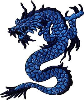 Toppa ricamata da applicare con ferro da stiro o cucitura, tema: Drago blu