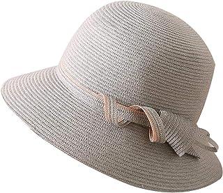 WN - Sombrero - Sombrero de Paja de Verano para Mujer Plegable al Aire Libre Protección Solar Ocasional Cubierta para el Sombrero para el Sol Sombra de Playa Ancha (4 Colores) Sombrero para Mujer
