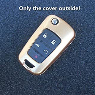 Ezzy Auto Gold Paint Metallic Remote Key Case Holder Key Shell Cover Key Fob Skin Covers REPL fit for Chevrolet Buick