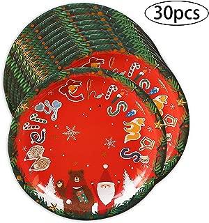Tomkity 30pz Platos Desechables para Navidad Artículos de Fiesta Cartón Vajillas Biodegradables