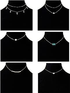 Masedy 6Pcs 18K Gold-plated Layered Pendant Choker Necklace Chain Choker for Women Girls Adjustable