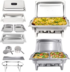 Valgus 2-Pack 8QT Stainless Steel Chafing Dish Buffet Chafer Set with Foldable Frame Water Trays, 2 Full Size, 4 Half Food Pans for Wedding, Parties, Banquet, Catering Events