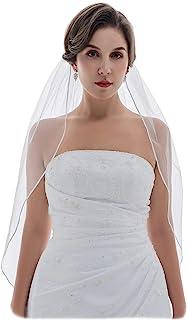 "1T 1 Tier 1/8"" Inch Ribbon Edge Bridal Veil"
