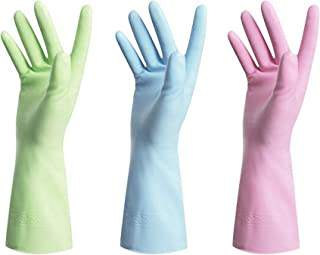 Dishwashing Rubber Gloves for Cleaning – 3 Pairs Household Gloves Including Blue, Pink, Orange, Green and Red, Non Latex and Fit Your Hands Well, Great Kitchen Tools Large