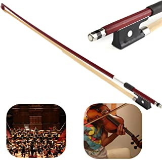 Professional 4/4 Brazilwood Ebony Frog Violin Arbor White Horsehair Violin Bow (4/4 Brazilwood)