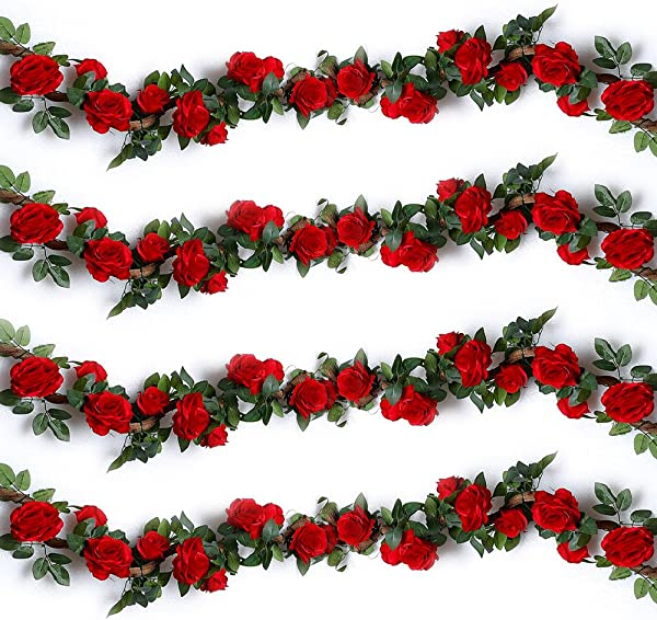 YILIYAJIA 4PCS 28 8 FT Artificial Rose Vines Fake Silk Flowers Rose Garlands Hanging Rose Ivy Plants For Wedding Home Office Arch Arrangement Decoration Red