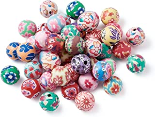 Kissitty 200Pcs Handmade Colorful Flower Pattern Polymer Clay Round Ball Spacer Beads 10mm for DIY Craft Jewelry Making
