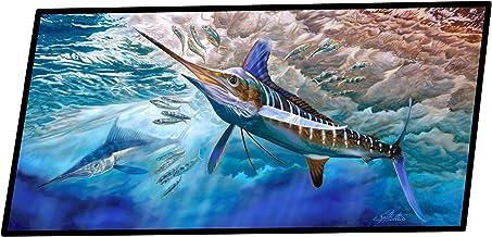 Caroline's Treasures White Rabbit Blue Marlin Indoor or Outdoor Runner Mat 28x58 doormats, Multicolor
