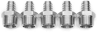 "LTWFITTING Bar Production Stainless Steel 316 Barb Fitting Coupler/Connector 3/4"" Hose ID x 1"" Male NPT Air Fuel Water (Pack of 5)"