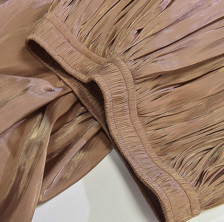 CHARTOU Womens Silky Lustrous Elastic Waist Pleated Accordion Midi Long Skirts