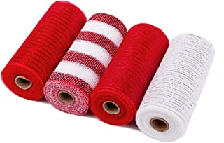 LaRibbons Deco Poly Mesh Ribbon - 6 inch x 30 feet Each Roll - Metallic Foil Red and White Rolls for Wreaths, Swags and De...