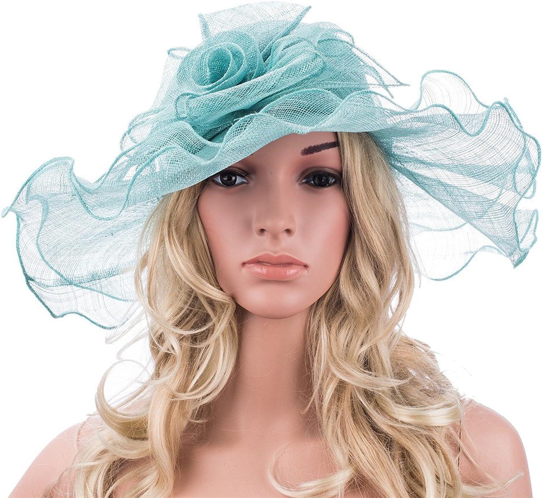 Lawliet Womens Sinamay Wide Brim Church Kentucky Derby Hat T140