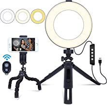 6 Mini Ring Light, Ring Light with Stand & Flexible Cell Phone Tripod & Remote Control, Selfie LED Ring Light for Makeup, Live Streaming, Taking Photos, Making Videos, Reading Books