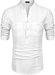 COOFANDY Men's Cotton Linen Henley Shirt Long Sleeve Hippie Casual Beach T Shirts