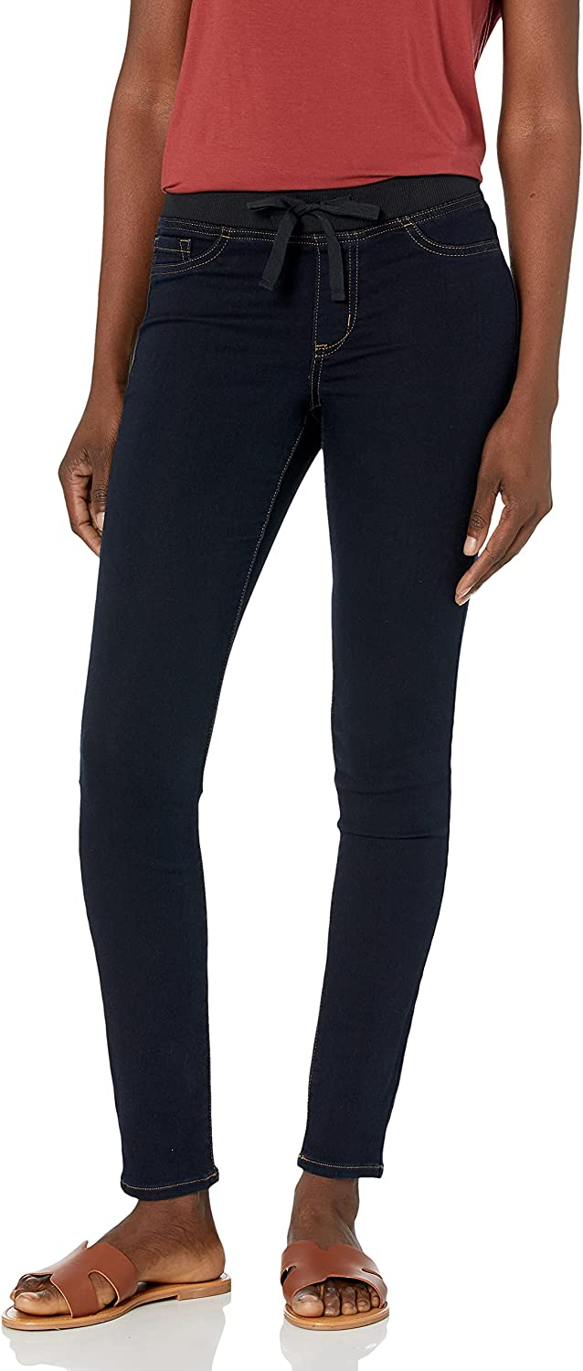 l.e.i. Women's Plus Size Dorm Pull on Jegging with Tie Detailing in Knit Denim
