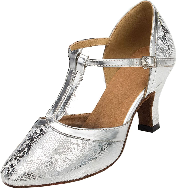 Vimedea Womens Pointed Toe T-Bar Kitten Heel Practice Latin Wedding Dance shoes LD033