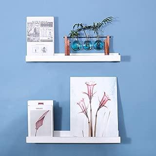 UMICAL Vista Photo Ledge Floating Wall Shelf Premium 2 Tier Wood Wall Shelves, 23-inch, Set of 2, White