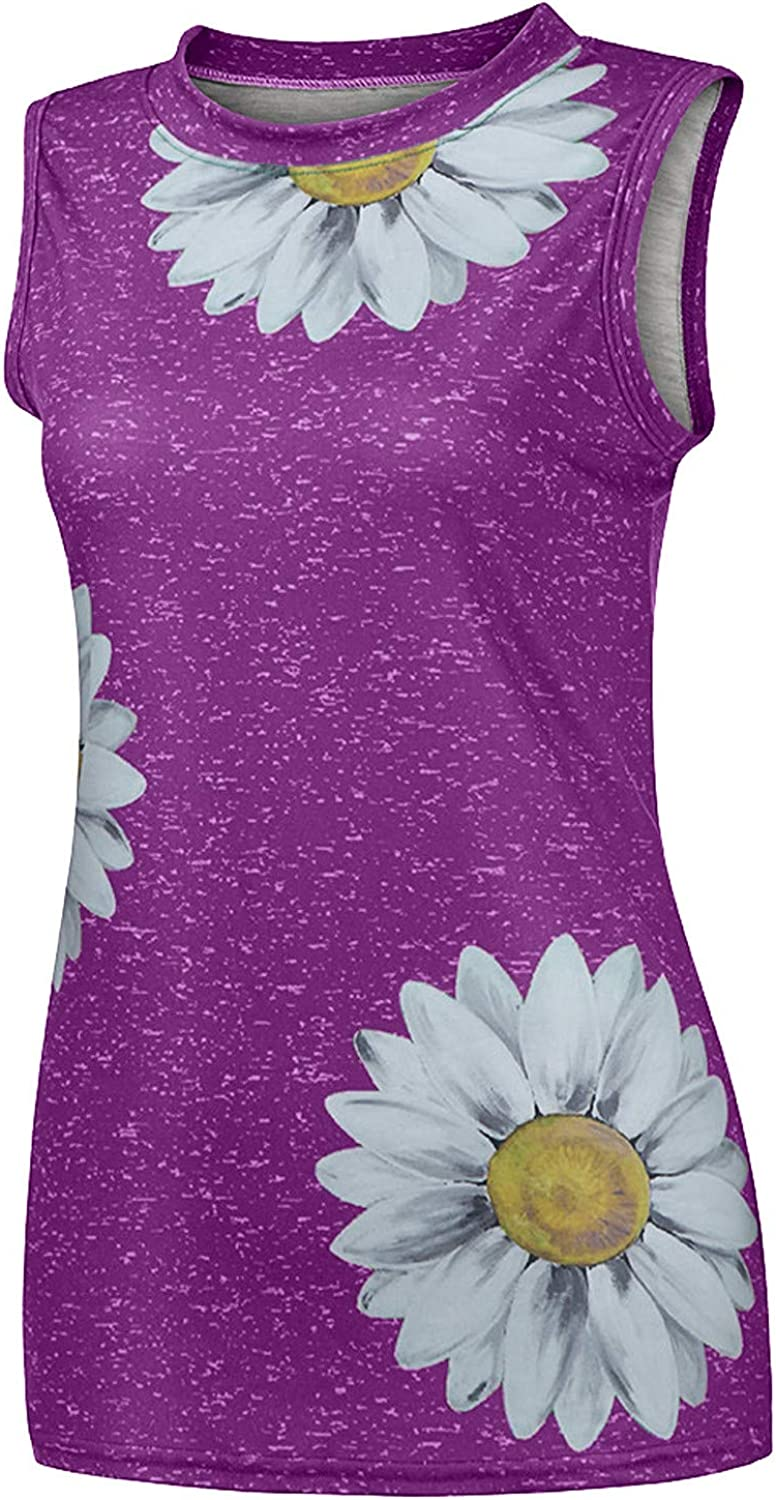 Womens Summer Tops, Tank Top for Women Loose Fit Plus Size Casual Sunflower Printed Tee Crew Neck Sleeveless Shirts