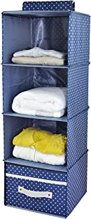 iwill CREATE PRO 4-Shelf Hanging Closet Organizer with Drawer, Thick Wooden Boards Inside, Suit for Clothes, Sweaters, Shoes Storage, Navy Blue Dot