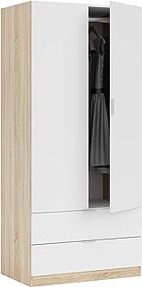 Habitdesign LC1222F - Armario Dos Puertas Acabado en Color Roble Canadian y Blanco Artik Medidas: 180 x 81 x 52 cm de Fondo