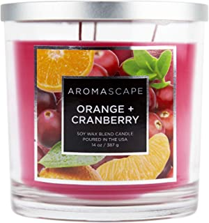 Aromascape PT40990  3-Wick Scented Jar Candle, Orange & Cranberry,14 Ounce