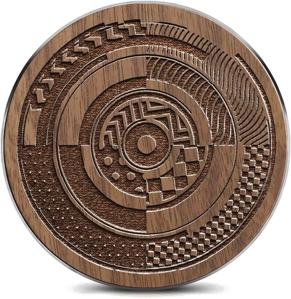 Wooden Wireless High Mesa Mall material Charging pad with Car Abstract Decorative Circle